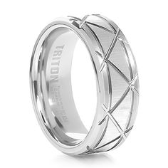 TRITON White Tungsten Wedding band Pulse, $299.00 at Titanium-Jewelry.com. Stand out from the crowd. #mensweddingbands #tungstenrings #mensrings #dailydeals #wedding