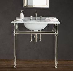 RH's Gramercy Metal Sinks & Washstands:Restoration Hardware's collection of bathroom sinks and bathroom tubs are naturally beautiful. Each console sink and soaking tub is crafted with superb attention to detail and adherence to quality and luxury.