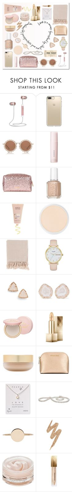 """""""neutral stocking"""" by milimacculloch ❤ liked on Polyvore featuring Speck, House of Holland, SUQQU, Essie, Clinique, Surya, Kate Spade, Kendra Scott, Kimberly McDonald and Too Faced Cosmetics"""