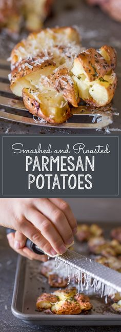 Give boring potatoes a facelift by smashing, adding butter and herbs, and roasting until they are perfectly crisp! Potato Dishes, Potato Recipes, Whole Food Recipes, Cooking Recipes, Parmesan Potatoes, Roasted Potatoes, Little Kitchen, Dinner Sides, Vegetable Side Dishes
