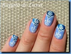 Arabesque white design on double blue