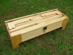 This is a beautiful chest that holds all the pieces of a bed and the chest itself is the head and footboard.