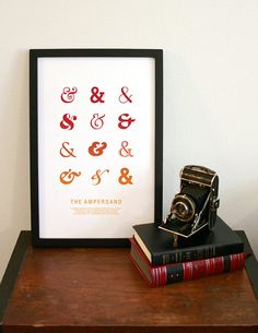 The Ampersand print in orange  11x17 typography by MilkBoxPrints, $20.00