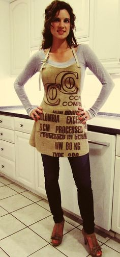 Germany Burlap Coffee Sack Apron with Pockets by BackAlleyChic