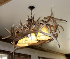 Elk Antler Pool Table Light Real Elk Antlers Mounted To Reclaimed - Antler pool table light