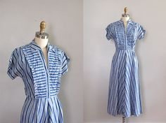 Vintage 1940s tuxedo stripe dress--what fantastic style. $104