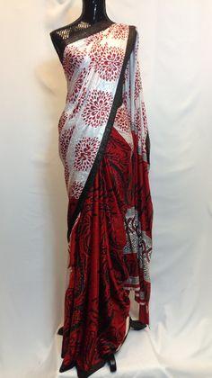 Half and Half Crepe Saree - White & Red