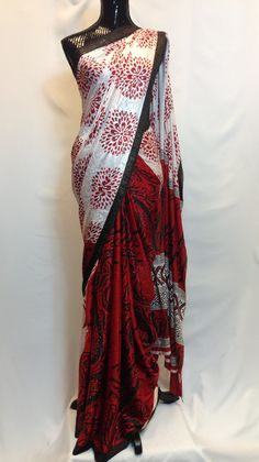 Half and Half Crepe Saree - White & Red