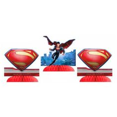 "Superman Tabletop Decoration (includes 3 pcs of 9"" table centerpieces in a pack)"