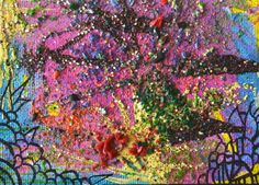 New Gothic Psychedelic Landscape Art Sale,Painting For Sale,Bright Pink,Purple,Yellow,Neon Original Fine Art, Original…