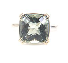 Green Quartz Sterling Silver Ring  Two tone gemstone by bskdesigns, $250.00