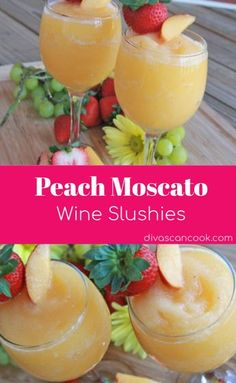 How to make Wine Slushies ~ Peach Moscato Frosty wine slushies made with real peaches and crisp moscato wine. Vino Moscato, Peach Moscato, Peach Wine, Moscato Punch, White Peach Sangria, Refreshing Drinks, Summer Drinks, Fun Drinks, Cocktail Recipes For Summer