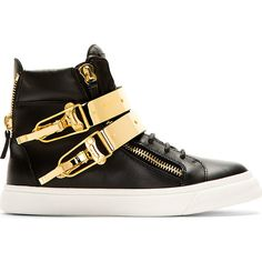 Giuseppe Zanotti Black and Gold Double-Buckle London Sneakers (5.315 VEF) ❤ liked on Polyvore