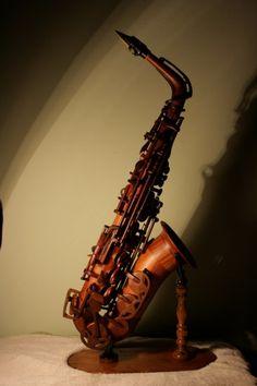 wooden saxophone