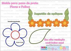 10 Moldes Incríveis de Barrados para Pano de Prato - Molde para pano de prato: Flores e folhas em patch aplique