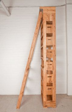 Rustic Bookshelf With Integrated Ladder