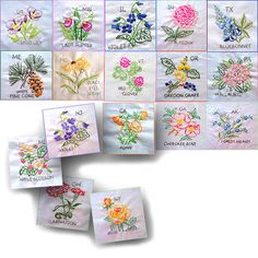 State Flower Hand-Embroidered Quilt Project- this is amazing! Free instructions, patterns, color guides, and info on each state flower.