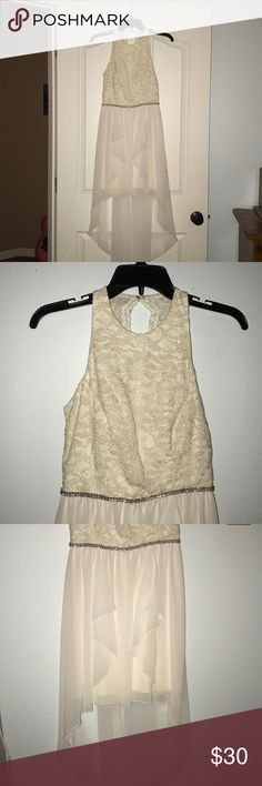 White Lace High-Lo Dress Super cute, white, flowy a prom/homecoming dress! Only worn once! Jodi Kristopher Dresses Prom