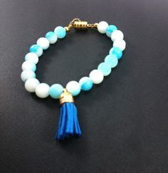 Sky Blue/White Glass Bead Bracelet with Tassel and Gold Magnetic Clasp by KaesKorner01 on Etsy