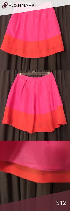 J.crew Skirt Orange and Pink skirt has pink lining underneath. Only worn once! jcrew Skirts