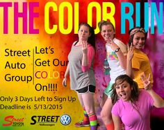 This year's Color Run is partnered with The Laura W Bush Institute for Women's Health. Let's run for a good cause!  If you would like to join our Colorful team, you will need to sign up by May 13th, Wednesday. Call Jen Dunaway at Street Toyota at (806) 355-9846… If you can catch her!!!