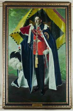 Henry, 6th Earl of Harewood by Sir William Nicholson  Wearing his robes as a Knight of the Order of the Garter, this is the second of two versions done by Nicholson.  The painting was a gift from the United Lodge of England to Princess Mary and the 6th Earl for their silver wedding anniversary in 1947.