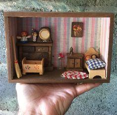 Antique Primitive Miniature Vintage Shadowbox Shadow Box Farm House Bedroom