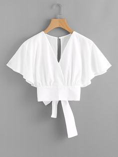 Shop Deep V-cut Split Back Bow Tie Blouse online. ROMWE offers Deep V-cut Split Back Bow Tie Blouse & more to fit your fashionable needs. Fashion Clothes, Fashion Dresses, Fashion Styles, Style Fashion, Fashion Tips, Bow Tie Blouse, White Blouse Outfit, Crop Blouse, Casual Outfits