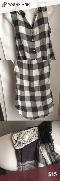 Dylan sleeveless checked gray top Gray and cream dylan top with beautiful detail at shoulder to truly set it apart and add feminine detail.   Normal wear (see pics). No rips, holes, tears. Smoke free, pet free home. dylan Tops Blouses