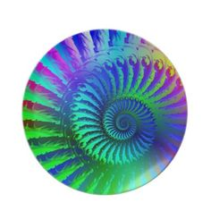 Psychedelic Fractal Blue Pattern Party Plates $28.10