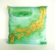 Cushion cover pillow map of JAPAN  organic by mybeardedpigeon, $55.00 #cushion #pillow