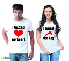 Couple Tshirts Stylish Printed Couple T-shirts  Fabric: Men Tshirt - Cotton  Women Tshirt - Cotton  Sleeves: Half Sleeves Are Included Size: Women Tshirt - S- 36 in M- 38 in L- 40 in XL- 42 in XXL- 44 in Men Tshirt - S M L XL  XXL(Refer Size Chart)  Length: Women Tshirt - Up to 22 in Men Tshirt -  S M L XL  XXL(Refer Size Chart)  Type: Stitched Description: It Has 1 Piece Of Men's T-shirt & 1 Piece Of Women's T-shirt Work - Printed Country of Origin: India Sizes Available: MEN - S/ WOMEN - S, MEN - M/ WOMEN - S, MEN - L/ WOMEN - S, MEN - XL/ WOMEN - S, MEN - XXL/ WOMEN - S, MEN - S/ WOMEN - M, MEN - M/ WOMEN - M, MEN - L/ WOMEN - M, MEN - XL/ WOMEN - M, MEN - XXL/ WOMEN - M, MEN - S/ WOMEN - L, MEN - M/ WOMEN - L, MEN - L/ WOMEN - L, MEN - XL/ WOMEN - L, MEN - XXL/ WOMEN - L, MEN - S/ WOMEN - XL, MEN - M/ WOMEN - XL, MEN - L/ WOMEN - XL, MEN - XL/ WOMEN - XL, MEN - XXL/ WOMEN - XL, MEN - S/ WOMEN - XXL, MEN - M/ WOMEN - XXL, MEN - L/ WOMEN - XXL, MEN - XL/ WOMEN - XXL, MEN - XXL/ WOMEN - XXL   Catalog Rating: ★4.1 (501)  Catalog Name: Stylish Printed Couple T-shirts CatalogID_766848 C79-SC1940 Code: 444-5186620-0111