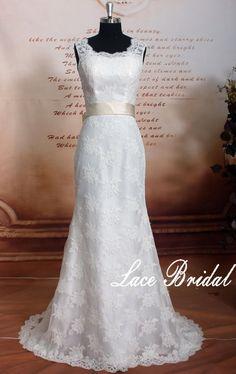 08fba405713b Lace wedding dress Lace fishtail wedding dress by LaceBridal Lace Fishtail Wedding  Dress, Backless Mermaid