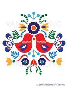 Scandinavian Folk Art Spring love bird flower by Illustrationpop