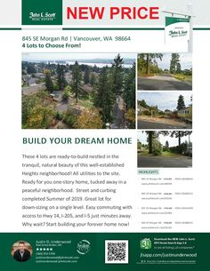 Four Featured Lots Available! Justin Underwood is the listing broker with John L Scott located at 204 SE Park Plaza Drive Suite 109, Vancouver, Washington 98684. His email address is justinunderwood@johnlscott.com. You can also reach him at: (360) 333-5706. Call or text today if you have questions about any of these available lots!
