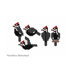 Mini Pileated Woodpecker pattern pack beading pattern for pendants, charms, pins, earrings by NaturalWondersbyCari on Etsy Seed Bead Patterns, Bird Patterns, Jewelry Patterns, Beading Patterns, Stitch Patterns, Native Beadwork, Beaded Animals, Beaded Ornaments, Peyote Stitch