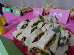 Mini sandwich wraps: pepperoni, mozzarella, and pizza sauce; taco meat, cheese, lettuce, tomatoes; BLTs; ham and cheese; turkey and cheese; PB Note-PB were the least liked.