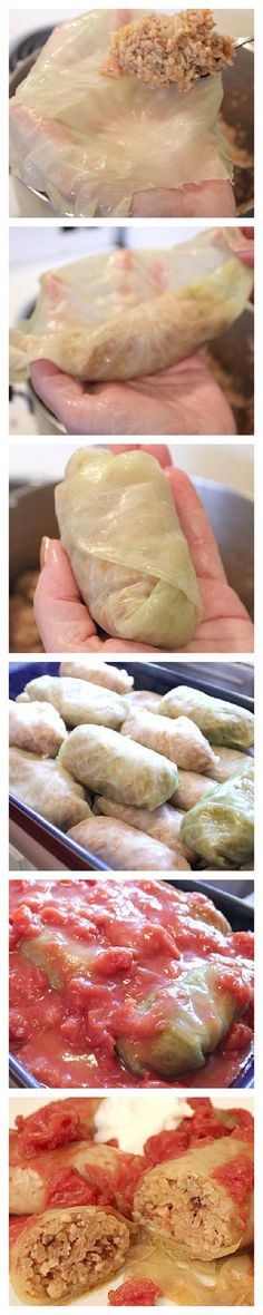 How to roll a cabbage rolls - recipe included! ** Freeze & dethaew to soften leaves instead of boiling & better to handle this way** 1 Sustenance - Food,Cuisine,Food',Food(s) & Drink(s),Meal Plan Cabbage Rolls Recipe, Cabbage Recipes, Beef Recipes, Cooking Recipes, Pastry Recipes, Cooking Ideas, Recipies, Ukrainian Recipes, Russian Recipes