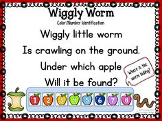 """Wiggly Worm"" - fun circle time game to practice color and/or number identification 