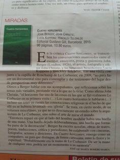 #recomiendo #CuatroHorizontes #JohnBerger #LeCorbusier @editorialgg #RomeroBarea @MondeDiploEs @IRamonet @masleer