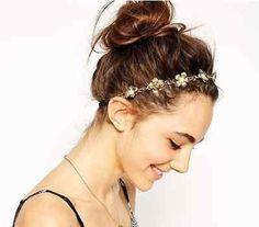 WOMEN GOLD METAL TRENDY STARS HEAD CHAIN GRECIAN CIRCLET FASHION JEWELRY 70/'S