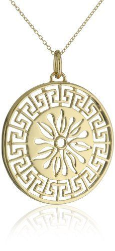 "18k Yellow Gold Plated Sterling Silver Sun Medallion, 18"" Amazon Curated Collection. $41.99. Save 77% Off!"