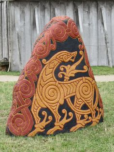 Viking Dragon Stone at the Viking Center of Ribe, Denmark.