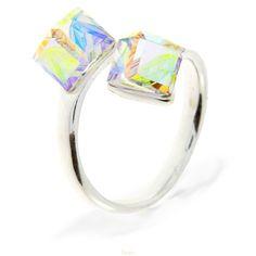 492799f26 Strieborný prsteň s kryštálmi Swarovski Elements Cube AB Divine Jewellery  eshop