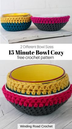 Make a quick and easy crochet bowl cozy with this free crochet pattern by Winding Road Crochet. Make a quick and easy crochet bowl cozy with this free crochet pattern by Winding Road Crochet. Crochet Bowl, Easy Crochet, Free Crochet, Crochet Things, Quick Crochet Gifts, Crochet Cats, Crochet Birds, Crochet Animals, Knit Crochet