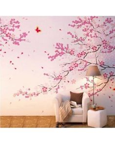 Cherry blossom tree wall decals with butterfly wall stickers home decor decal with butterfly for living room small tree decal on Etsy, €