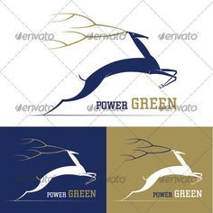 Deer Power Green Logo Template