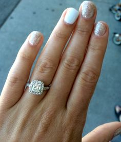 Engagement nail polish! Glitter gel on all nails but one. The ring will sparkle enough for that finger! Cushion cut halo