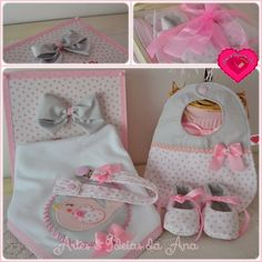 Artes e Ideas Ana: baberos Diy Baby Gifts, Baby Crafts, Baby Sewing Projects, Sewing For Kids, Baby Born Clothes, Kit Bebe, Baby Kit, Cross Stitch Baby, Baby Girl Shoes