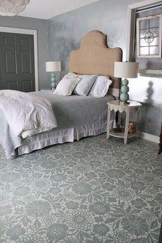 Goodbye Carpet, Hello Stenciled Floor With Annie Sloan Chalk Paint :: Hometalk